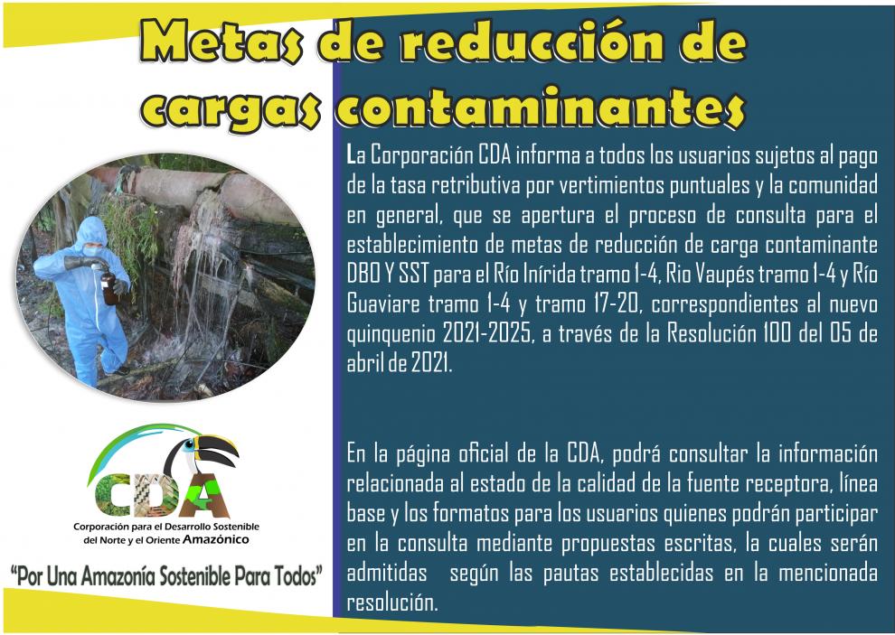 Imagen alusiva a APERTURA AL PROCESO DE CONSULTA PARA EL ESTABLECIMIENTO DE METAS DE REDUCCIÓN DE CARGA CONTAMINANTE