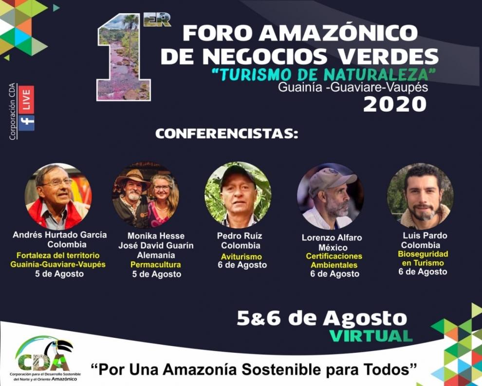 """Gráfica alusiva a 1er Foro Amazónico de Negocios Verdes """"Turismo de Naturaleza"""" Guainía – Guaviare – Vaupés"""